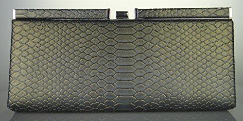 Lange Schlange Maserung pu Leder Damen Abend Geldbörse mit Clip Lock (Leder Handtasche Tri-fold)