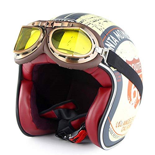 GRL- Helmet Vintage Open-Face Motorcycle Helm Motorbike Jet Bobber Chopper Crash 3/4 Helm DOT-Zertifizierung mit Harley-Brille Sun Visier,Road66,M57~58CM