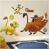 BAOWANG Stickers muraux Stickers muraux Géant Disney, Roi du Lion, Vinyle, Multicolore, 63.5 cm LX 48.3 cm L