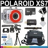 Polaroid XS7HD 720P 5MP étanche de sports d'action caméra avec écran LCD à écran tactile avec casque et de fahrradhalterungen + 8Go Micro SD Carte + Deluxe Sac de rangement et port trasn à + Polaroid Set d'accessoires