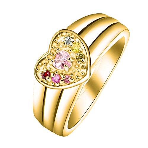 Quiges Damen Personalisiert Gravur Name Solitär Herz Ring 18 Karat Gold 925 Sterling Silber Zirkonia Geburtsstein Ringgröße 50