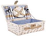 Sell-tex 4persone vimini cestino da picnic picnic set di valigie con posate, bicchieri, piatti ecc