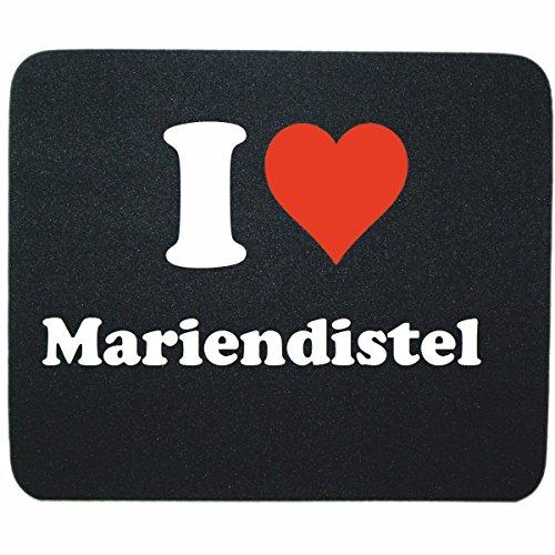 """Exklusive Geschenkidee: Mauspad """"I Love Mariendistel"""" in Schwarz, eine tolle Geschenkidee die von Herzen kommt- Rutschfestes Mousepad- Weihnachts Geschenktipp"""