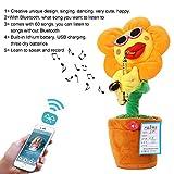 AOLVO Singen Dancing Saxophon Sonnenblume 2018Neue Version, Bluetooth Elektrische Musik Spielzeug FUNNY Creative Stofftier Animierter Tanzende Blume Puppe Licht Musik beliebtes für Tik Tok Orange Round Petals