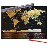 ZOZOSEP World Scratch off Map W/Gold Foil Layer - Poster da Parete da Viaggio con Graffi Multicolore W/Scratch Pen Poster Personalizzato con Mappa del Mondo per Regali di Viaggio