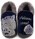 Zapatillas de Estar por Casa Niña Niño Zapatos Pantuflas Invierno Bebé Interior Caliente Peluche Forradas Slippers Azul(Navy) 31/32 EU/220CN