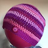 Crochet beanie hat in sparkle yarn - size teen