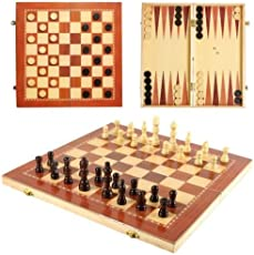 Lakshya-Wooden Chess-3 in 1 Chess / Checkers / Backgammon (Small 12 inch )