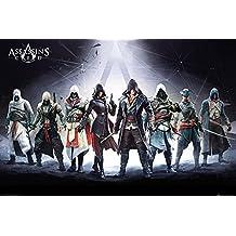 Póster Assassin's Creed/Credo de los Asesinos - Personajes (91,5cm x 61cm) + 2 marcos negros para póster con suspención