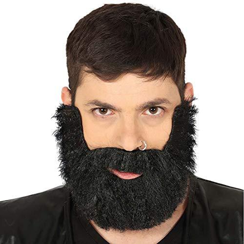 NET TOYS Falscher Bart Biker | Schwarz, auftoupiertes Haar | Stylisches Männer-Kostüm-Zubehör Backenbart Rocker geeignet für Kostümfest & ()