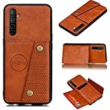 ACHICOO for OP/PO A9 2020/Realme XT/Reno 2 Mobile Phone Shell Classic Textured Pattern Buckle Closure Design Anti-Fall Smartphone Case Brown OP/PO Realme XT