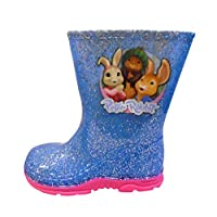 Girls Lily Bobtail Peter Rabbit Glitter Wellies Wellington Boots UK Size 5-10 (8 UK Child) Blue