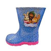 Girls Lily Bobtail Peter Rabbit Glitter Wellies Wellington Boots UK Size 5-10 (8 UK Child) Blue