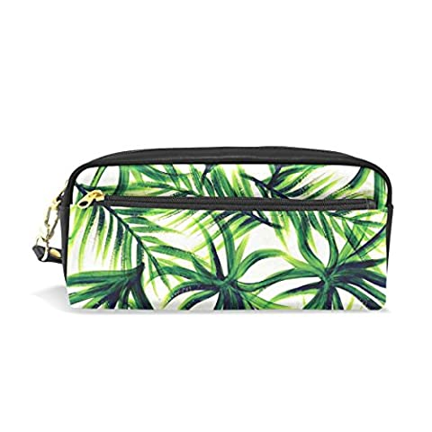 COOSUN Palm Tree Students Large Capacity Pu Leather Pencil Case School Pen Bag Pouch Stationary Case Makeup Cosmetic