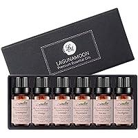 Lagunamoon Lot Huile Essentielle Naturelles, 100% Pure 6pcs Huiles Essentielles Aromathérapie pour sauna facial, spa 10ML(Citronnelle, menthe poivrée, orange, lavande, eucalyptus et arbre à thé)