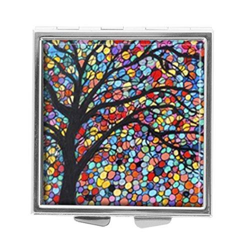 Youroom Pillendose, Motiv: Baum des Lebens, quadratisch, für Medikamente und Vitamine (Baum Des Lebens Vitamine)