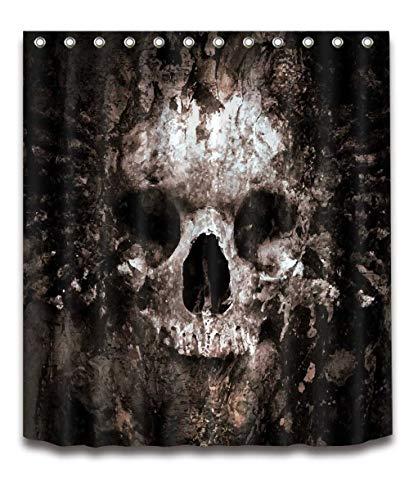 Muysmy Schädel Halloween Dusche Vorhang und Bad Matte Set wasserdichte Polyester Badezimmer Stoff für Badewanne Kunst Dekor 180x200cm-72x80inch schwarz