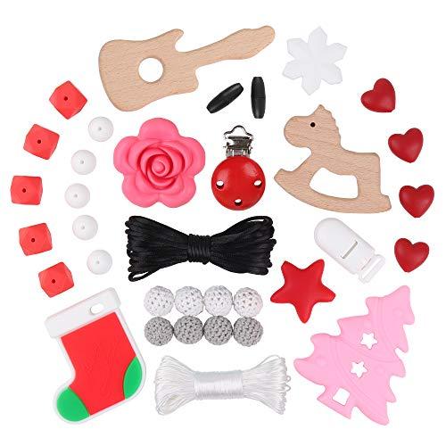 Silikon Perlen Kit DIY Sensory Chew Zubehör Frohe Weihnachten Santa's Kinderkrankheiten Dummy Clips Baby Beißring Spielzeug Schnuller Clips BPA frei Beste Dusche Geschenk Handgemachten Schmuck Mom