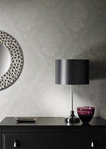 LUXUS Vinyl Tapete im Barock Damast Design , luxuriös und sehr edel in Grau / Weiß , geeignet für Wohnzimmer, Schlafzimmer, Flur oder Küche , leicht tapezierbar