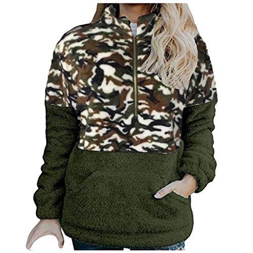 LILIHOT Damen Classics Camouflage Sweatjacke Casual Fashion Hoodie Fleece Zip Sweatshirts mit Tasche