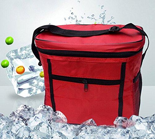 Junsi portatile viaggio borsa impermeabile fodera sacchetto di pasto–Borsa frigo termica Borsa picnic 27* * * * * * * * 17* * * * * * * * 14cm, nero, Universally rosso