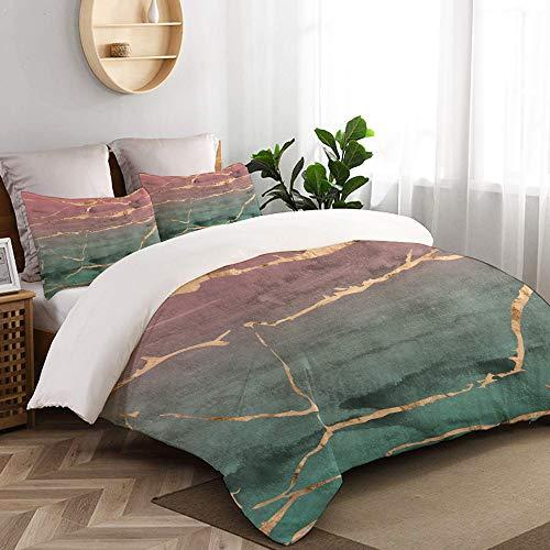 WINCAN 3 teilig Bettbezug in scheiben geschnittenes marmor Design roségold metallic Mikrofaser Bettdeckenbezug 240x260cm,Reißverschluss,mit 2 Kopfkissenbezüge 50x80cm