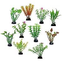 POPETPOP 10pcs Plastic Aquatic Plant Miniature Plants Pots Bonsai Craft Micro Landscape Fish Tank DIY Decor