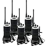 Retevis RT7 Walkie Talkie Recargable UHF 400-470MHz 5W 16 Canales Radio FM Linterna Incorporada VOX CTCSS DCS Walkie Talkie con Auriculares(Negro y Plata, 5Pcs)