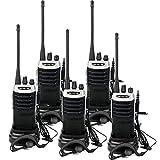 Retevis RT7 Walkie Talkie Recargable UHF 400-470MHz 5W 16 Canales Radio FM Linterna Incorporada VOX CTCSS DCS Walkie Talkie con Auriculares(Negro y Plata, 5Pcs)