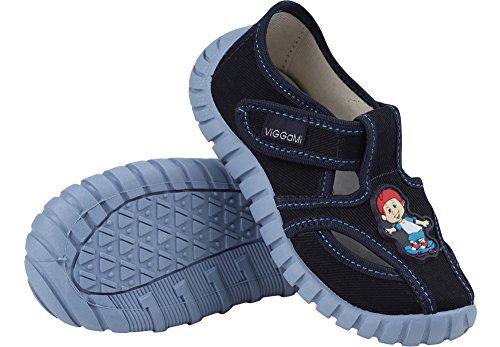 Jungen Kinderhausschuhe Viggami, grau, türkis, grau/Buchstaben und dunkelblau, Gr. 23 bis 30 (14 bis 18,7 cm) Dunkelblau/Skateboard
