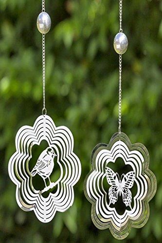 etterling oder Vogel Windspiel Metall Silber Stückpreis ()