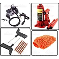 AutoStark Car Accessories Combo Air Compressor + 2 Ton Hydraulic Bottle + Puncture Repair Kit + Microfibre Cloth for Tata Manza