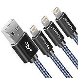 Hunletai Cavo iPhone Cavo Lightning Nylon Intrecciato Caricabatterie per iPhone XS/XR/X Max /8/8 Plus /7/7 Plus /6 /6S /5 /5S, iPad, iPod - Blu 2M+2M+2M 3 Pezzi