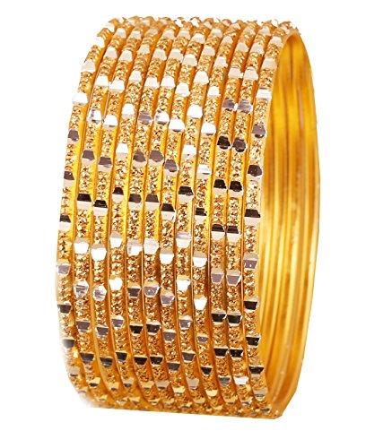 schen Bollywood Reichhaltige glänzend Golden Gelb strukturiert Farbe Pretty Cut Arbeit Design Schmuck Armreif Armbänder. Set von 12. In Silber Ton für Frauen. ()