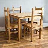 Home Discount Corona Budget Dining Set In Waxed Solid Pine Mexican 4 Chairs Table