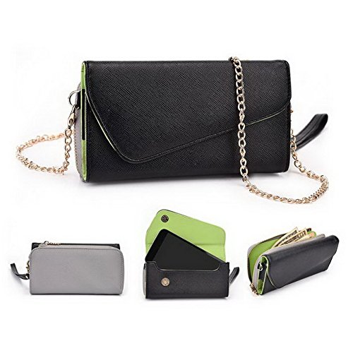 Kroo d'embrayage portefeuille avec dragonne et sangle bandoulière pour Huawei Ascend P1LTE Multicolore - Green and Pink Multicolore - Noir/gris