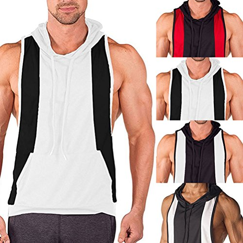 Zhuhaitf Alle Sport Mens Sleeveless Sports Vest Hoodie T-Shirt Gym Clothing with Pockets Father Gift Black