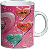 Your Name' Coffee Mug   Coffee Mug Name 'Sonali'   Heart Shaped Name Printed Coffee Mug   Best Gift For Birthday, Anniversary & Special Ocassion
