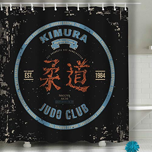 hyjhytj Beach Shower Curtain Judo Club Print Design Fabric Bathroom Decor 60 X 72 Inch