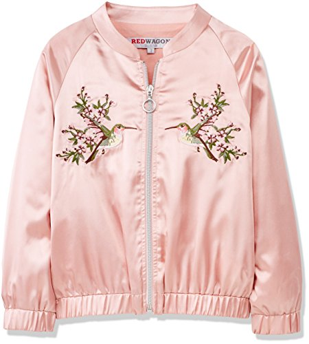 RED WAGON Girl's Bird Embroidered Satin Bomber Jacket