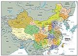 Chine carte politique–en vinyle–A0Taille 84.1x 118.9cm...