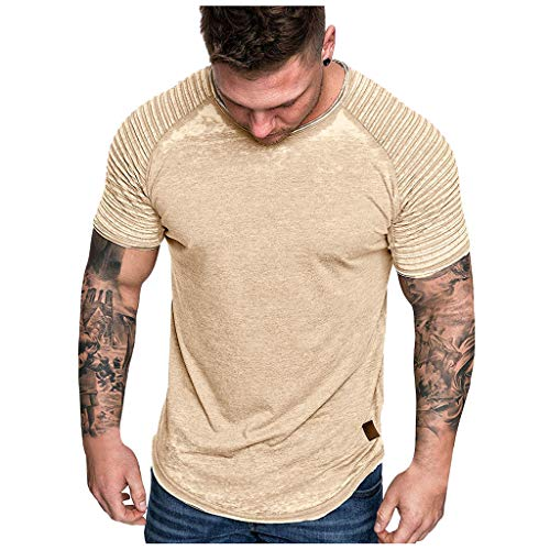 Tops Herren Sommer Shirts Basics Baumwolle Tank Tops Fitness Running Polo Bluse Strand Hemden Herbst 2019 Neu Qmber Slim Fit Distressed Solid Color Striped Plissee Raglanärmel Kurzarm T-Shirt/Gelb,XL -