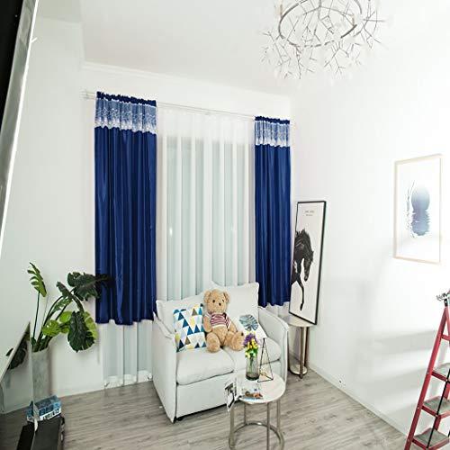 TianranRT★ tulle cortina di stoffa tenda unica integrata con asta 130x100cm,tessili per la casa tenda farfalla ricamo ventilatore filato soggiorno camera da letto balcone,Blu