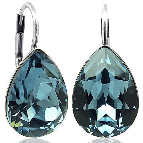 Ohrringe mit Kristallen von Swarovski® Silber Blau Denim Blue NOBEL SCHMUCK