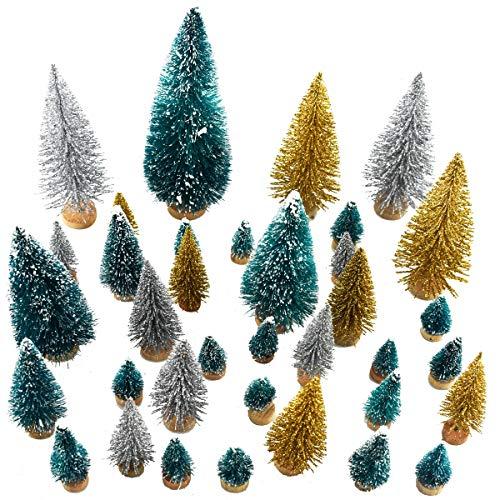 SUNREEK 37 Stück künstlicher Sisal Weihnachtsbaum Mini Kiefer Baum mit Holzsockel DIY Basteln Home Tischdekoration Weihnachten Ornamente Grün Glitzer Gold und Glitzer Silber -