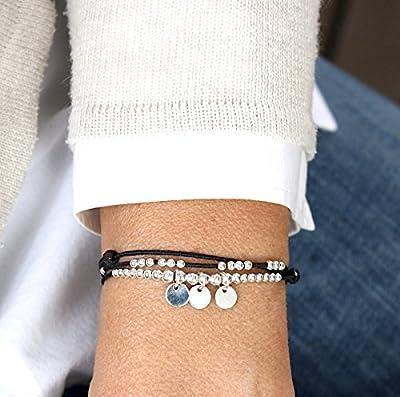 Bracelet cordon au choix triple tours perles et trois pastilles en argent 925