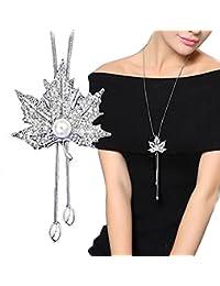 Hosaire Moda mujer Hoja de arce de la borla del diamante largo cadena encantos suéter collar accesorios de la joyería(plata)