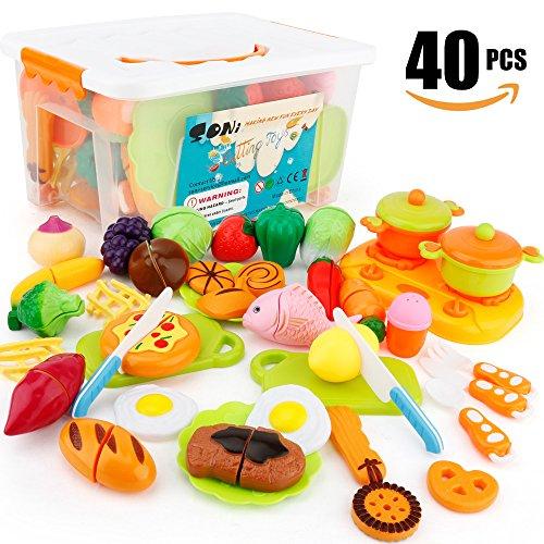 40 Piezas Alimentos de juguete Cortar Frutas Verduras Temprano Desarrollo Educación Bebé Niños Juegos para cocinar