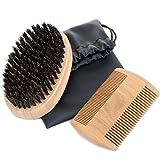 Bartpflege set für Männer, MOOKLIN antistatischem Bartkamm & natürlichen schweinborsten Bartbürste für Männer Bartstyling
