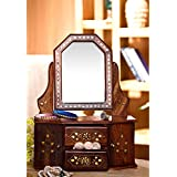 Desi Karigar Wooden Small Dressing Mirror Frame Wooden Dressing Table Home Decorative And Gifting Item small toy Wooden Dressing Table for kids doll house